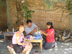 Sharon Platnik Levy with Wood carver Amando Jimenez in Oaxaca
